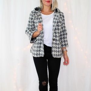 Anthropologie Elevenses Houndstooth Swing Jacket